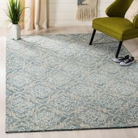 Safavieh Handmade Abstract Contemporary Blue / Grey Wool Rug (6' x 9') - 6' x 9'
