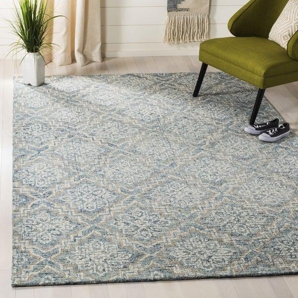 Safavieh Handmade Abstract Contemporary Blue / Grey Wool Rug - 6' x 9'
