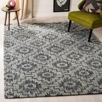 Safavieh Handmade Abstract Contemporary Ivory / Dark Grey Wool Rug (6' x 9') - 6' x 9'