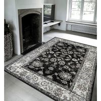 Wilton-Woven Aurelia Black Traditional Rug - 4' x 6'