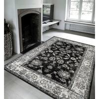 Wilton-Woven Aurelia Traditional Black Area Rug - 5'1 x 7'6