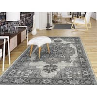 Aurelia Stone Grey Wilton-woven Traditional Medallion Area Rug - 5'1 x 7'6
