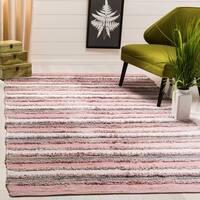 Safavieh Hand-Woven Montauk Contemporary Pink / Multi Cotton Rug - 8' x 10'