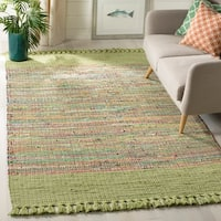 Safavieh Hand-Woven Montauk Contemporary Green / Multi Cotton Tassel Area Rug - 8' x 10'