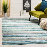 Safavieh Hand-Woven Montauk Contemporary Aqua / Multi Cotton Rug - 8' x 10'