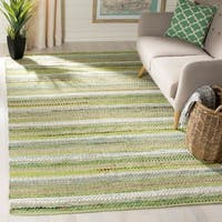 Safavieh Hand-Woven Montauk Contemporary Green / Multi Cotton Rug - 8' x 10'