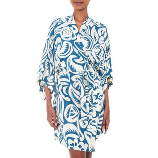 Handmade Rayon 'Blue Floral Jungle' Robe (Indonesia)