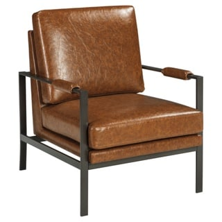Peacemaker Contemporary Faux Leather Brown Accent Chair