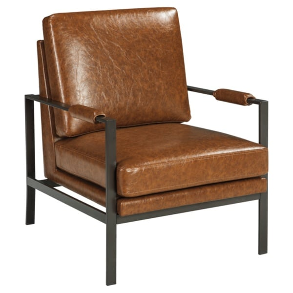 Peacemaker Contemporary Faux Leather Brown Accent Chair by Signature Design By Ashley