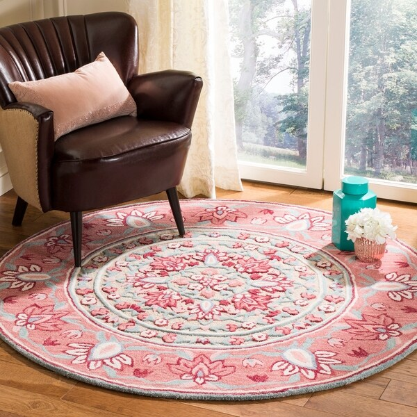 Safavieh Handmade Bellagio Contemporary Red / Beige Wool Rug - 5' x 5' round