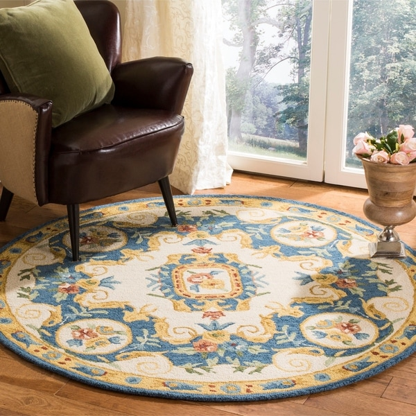 Safavieh Handmade Micro Loop Transitional Cream / Blue Wool Rug (5' x 5' Round)