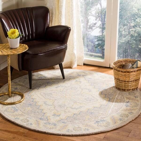 Safavieh Handmade Micro Loop Transitional Beige / Grey Wool Rug - 5' x 5' round
