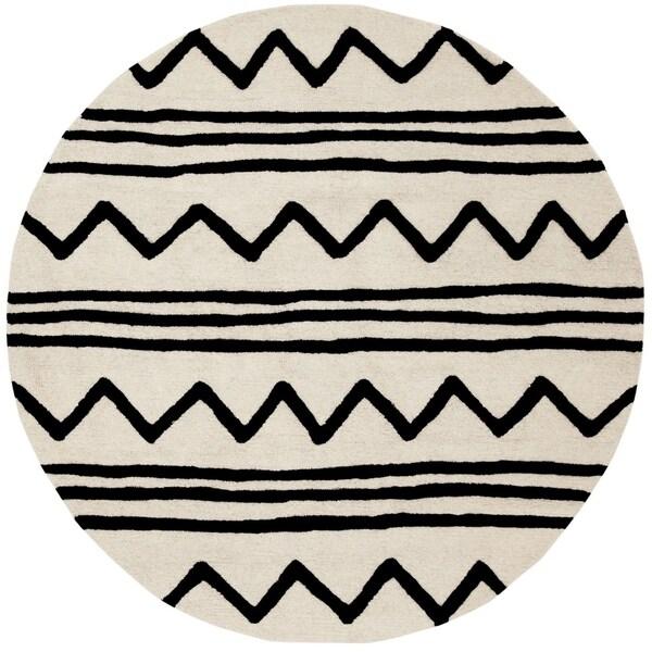 Safavieh Handmade Safavieh Kids Contemporary Ivory / Black Cotton Rug (5' x 5' Round) - 5' x 5' round