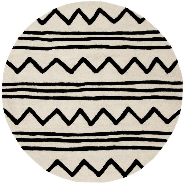 Safavieh Handmade Safavieh Kids Contemporary Ivory / Black Cotton Rug (5' x 5' Round)