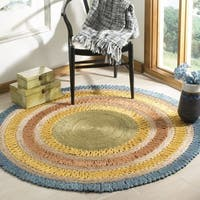 Safavieh Hand-Woven Natural Fiber Contemporary Blue / Multi Jute Rug (5' x 5' Round) - 5' x 5' round