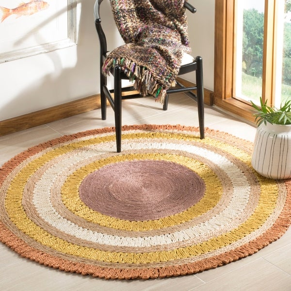 Safavieh Hand-Woven Natural Fiber Contemporary Orange / Multi Jute Rug - 5' x 5' round