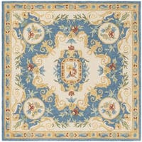 Safavieh Handmade Micro Loop Transitional Cream / Blue Wool Rug (5' x 5' Square) - 5' x 5' square
