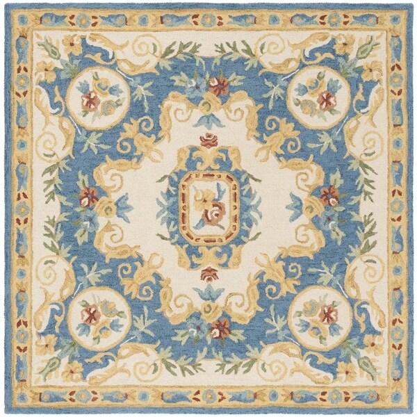 Safavieh Handmade Micro Loop Transitional Cream / Blue Wool Rug (5' x 5' Square) - 5' x 5' square