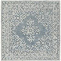 Safavieh Handmade Micro Loop Transitional Blue / Light Blue Wool Rug (5' x 5' Square) - 5' x 5' square