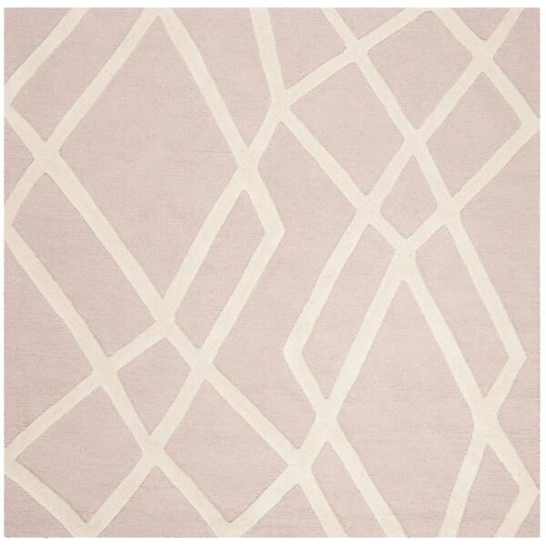 Safavieh Handmade Safavieh Kids Contemporary Pink / Ivory Cotton Rug (5' x 5' Square) - 5' x 5' square