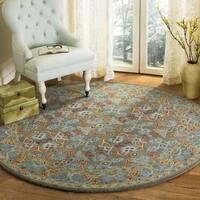 Safavieh Handmade Heritage Traditional Sage / Blue Wool Rug (6' x 6' Round) - 6' x 6' Round