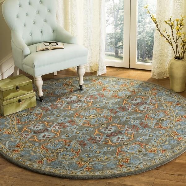 Safavieh Handmade Heritage Traditional Sage / Blue Wool Rug (6' x 6' Round)