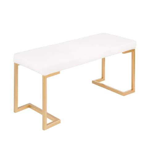 Midas Contemporary-Glam Gold Dining/Entryway Bench