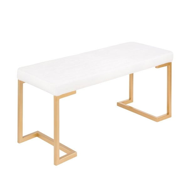Midas Contemporary-Glam Gold Dining/Entryway Bench