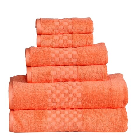 Feather Stitch Luxurious Absorbent 650 GSM Combed Cotton 6-piece Towel Set