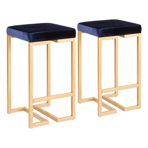 Midas Contemporary-Glam Upholstered Counter Stool (Set of 2) - N/A