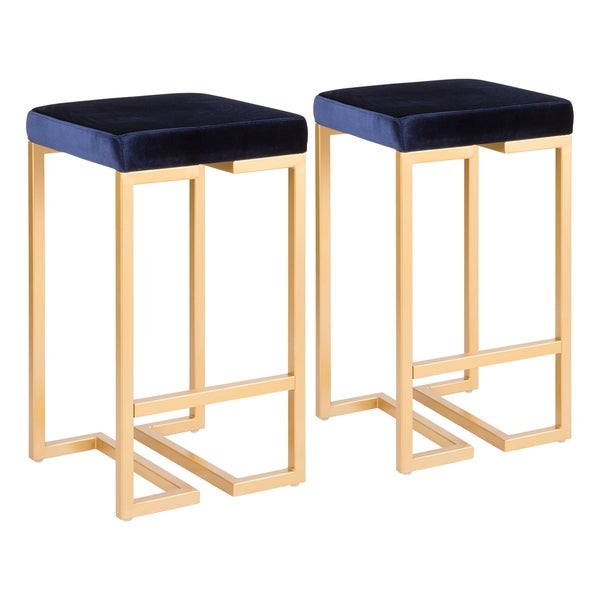 Midas Contemporary-Glam Upholstered Counter Stool (Set of 2) - N/A. Opens flyout.