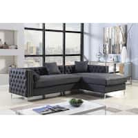 Chic Home Monet Right Hand Facing Sectional Sofa PU Leather with 3 Accent Pillows