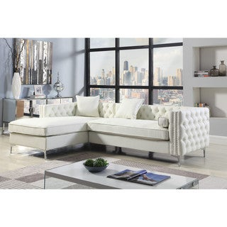 Chic Home Monet Left Hand Facing Sectional Sofa L Shape Chaise PU Leather with 3 Accent Pillows