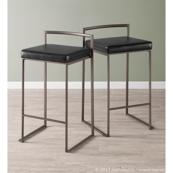 Carbon Loft Yadriel Industrial Antique Stackable Counter Stool (Set of 2) - N/A