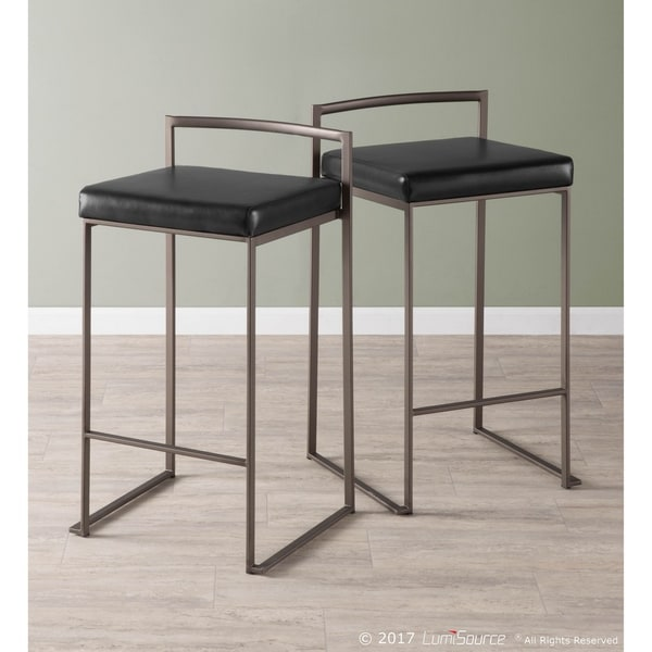Shop Fuji Industrial Antique Stackable Counter Stool Set