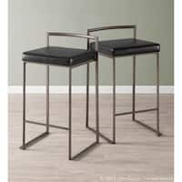 Fuji Industrial Antique Stackable Counter Stool (Set of 2)