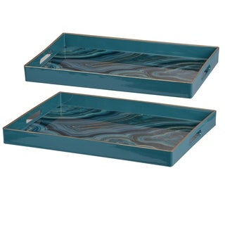 Ser of 2 Effra Rectangular Trays, Blue Marbled L:19x14 inches, S:18x12 inches