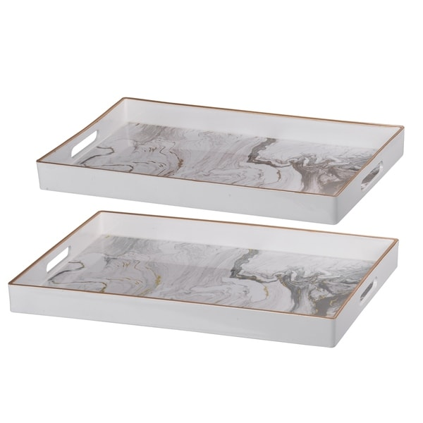Set of 2 Effra Rectangular Trays, White Marbled - L:19x14inches, S:18x12 inches