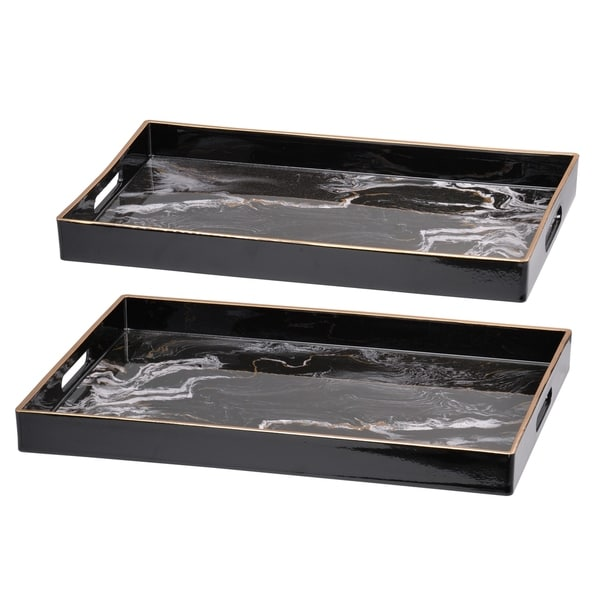Set of 2 Effra Rectangular Trays, Black Marbled - L:19x14inches, S:18x12 inches