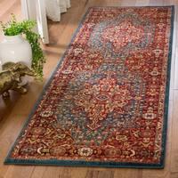 Safavieh Kashan Transitional Blue / Red Rug - 2'6' x 8'