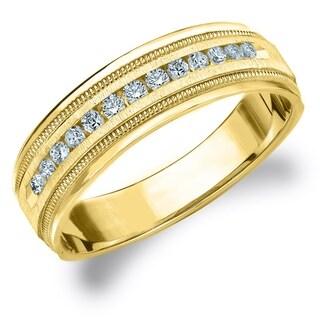 Amore 10KT Yellow Gold Men's .25CT Milgrain Edge Diamond Wedding Band