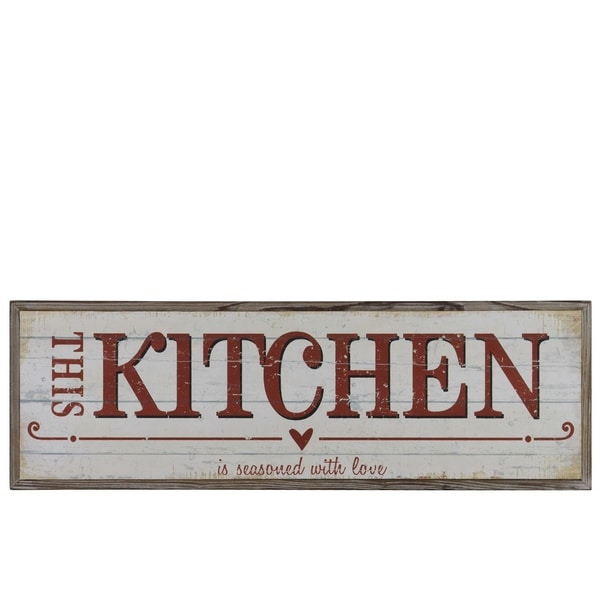 Urban Trends Wood Rectangular Wall Art With Red This Kitchen Is Seasoned With Love Writing In Natural Finish Brown N A