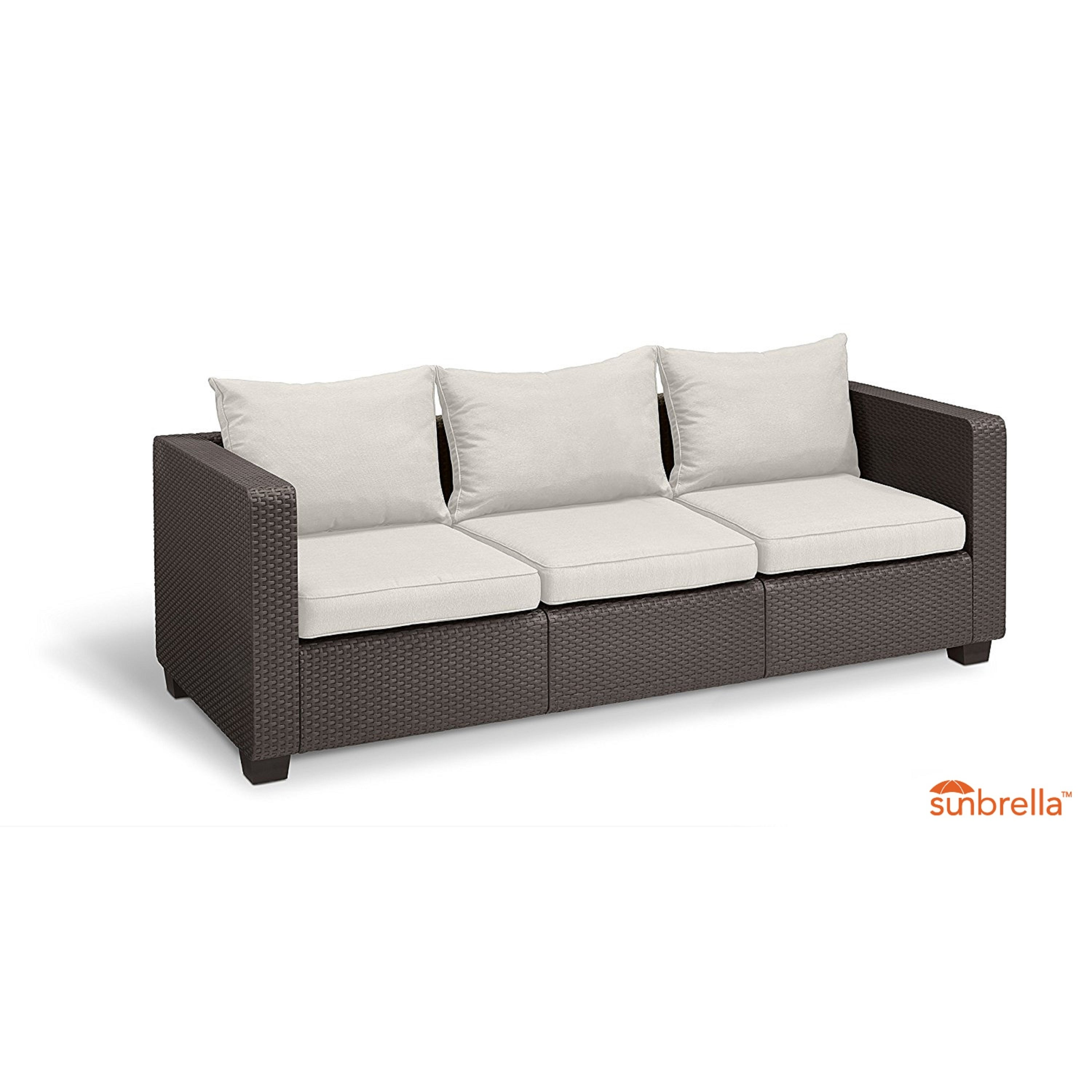 Awesome Keter Salta 3 Seat All Weather Outdoor Patio Sofa With Sunbrella Cushions