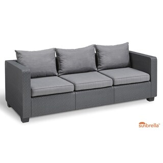 Keter Salta 3-Seat All-Weather Outdoor Patio Sofa with Sunbrella Cushions