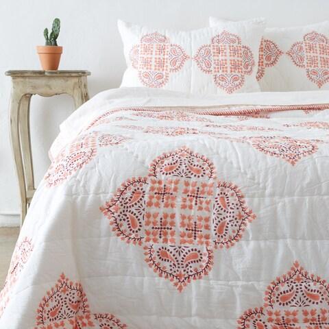 Gabriella Peach Cotton Quilt Set