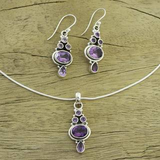 Handmade Sterling Silver 'Lilac Song' Amethyst Jewelry Set (India)