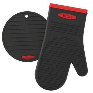 KRAUS Heat-Resistant 100% Food-Safe Silicone Non-Slip Oven Mitt and Trivet