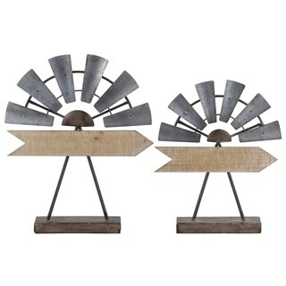 UTC39617: Metal Sculpture with Windmill and Arrow Design on Rectangular Stand Set of Two Galvanized Finish Gray