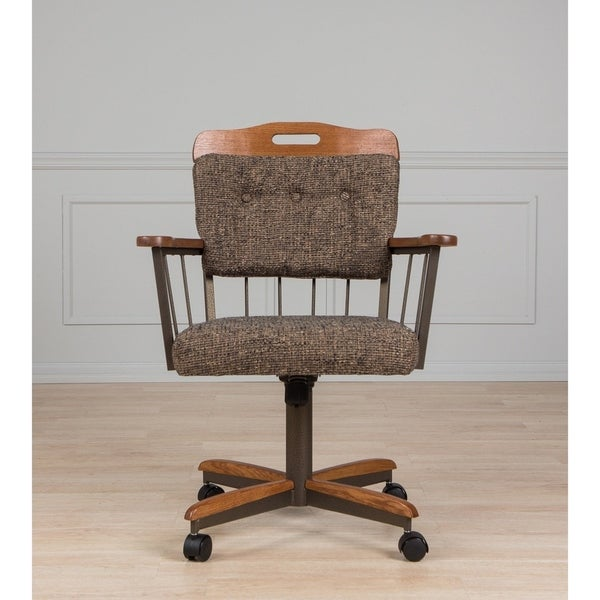 Rolling Dinette Chairs: Shop Brown Metal/Fabric Cushion Swivel And Tilt Rolling