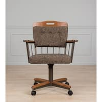 Brown Metal/Fabric Cushion Swivel and Tilt Rolling Kitchen Chair